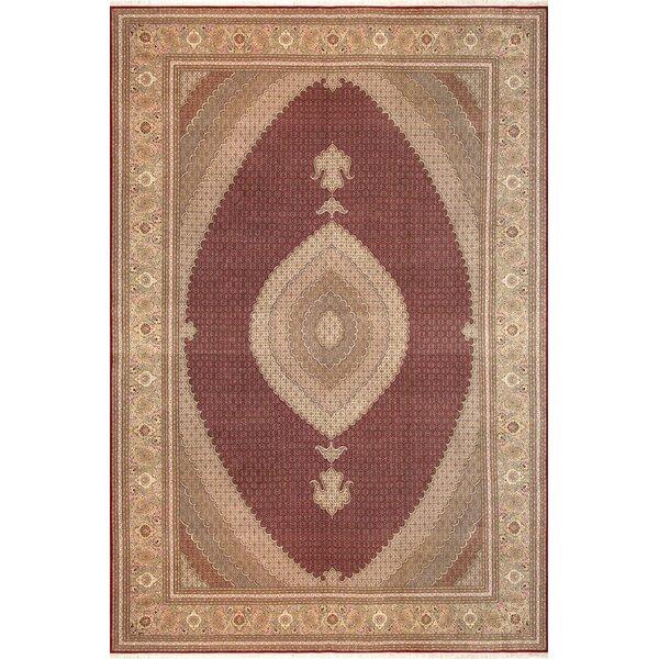Tabriz Hand-Knotted Wool/Silk Burgundy/Brown Area Rug