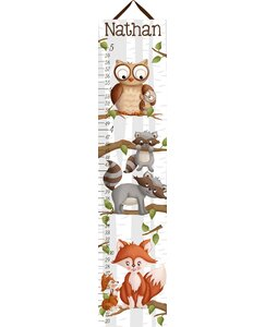 Forest Critters Woodland Kids Personalized Canvas Growth Chart