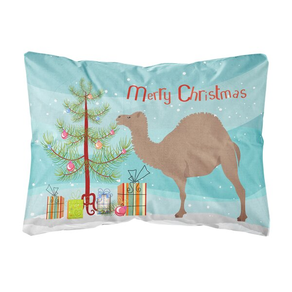 Hillpoint F1 Hybrid Camel Christmas Fabric Indoor/Outdoor Throw Pillow by The Holiday Aisle