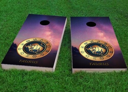 Zodiac Stars Taurus Themed Cornhole Game (Set of 2) by Custom Cornhole Boards