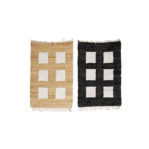 Tippecanoe 2 Piece Cotton Black/Tan Indoor Area Rug Set by Bungalow Rose