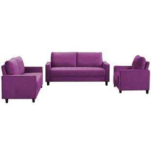 Hemleta 3 Piece Velvet Living Room Set by Latitude Run®