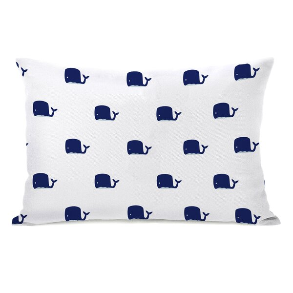 All Over Whale Stripes Reversible Lumbar Pillow by One Bella Casa