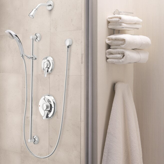 Commercial Complete Shower System with 2.5 GPM Single Function Shower Head and Posi-Temp Pressure Balancing Rough-In Valve