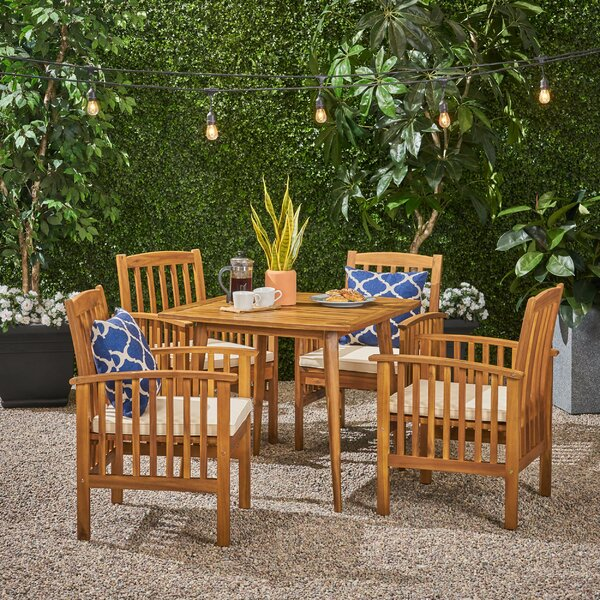 Soares 5 Piece Dining Set With Cushions By Breakwater Bay