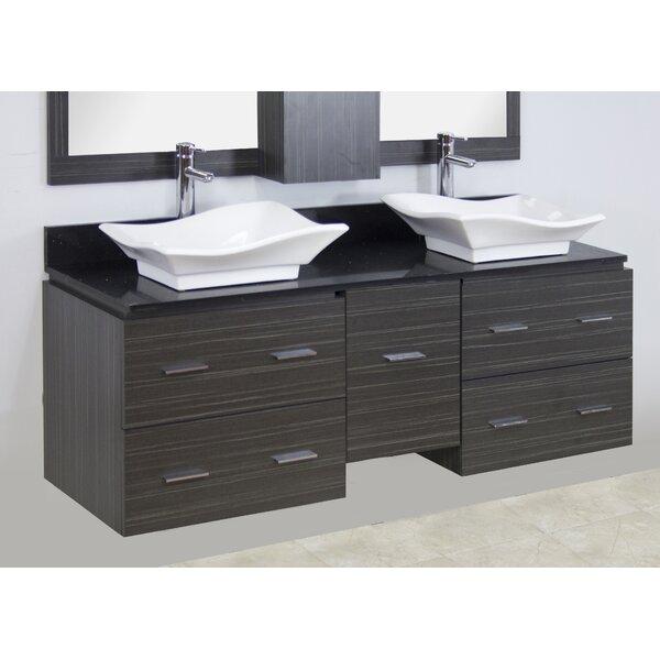 60 Double Modern Wall Mount Bathroom Vanity Set