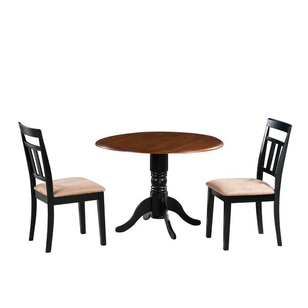 Adriano 3 Piece Drop Leaf Solid Wood Dining Set by August Grove