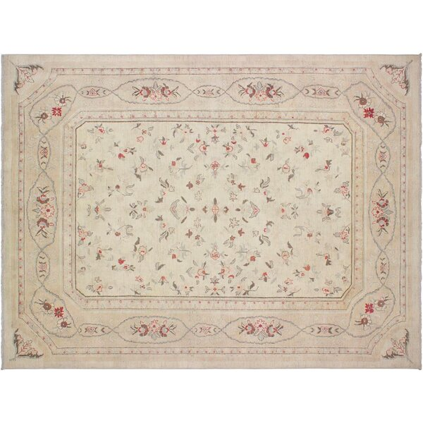 Xenos Hand-Knotted Rectangle Wool Ivory/Tan Area Rug by Astoria Grand