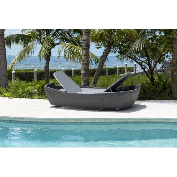 Onyx Folding Double Reclining Chaise Lounge with Cushion by Panama Jack Outdoor