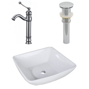 Trend Ceramic Square Vessel Bathroom Sink with Faucet ByAmerican Imaginations