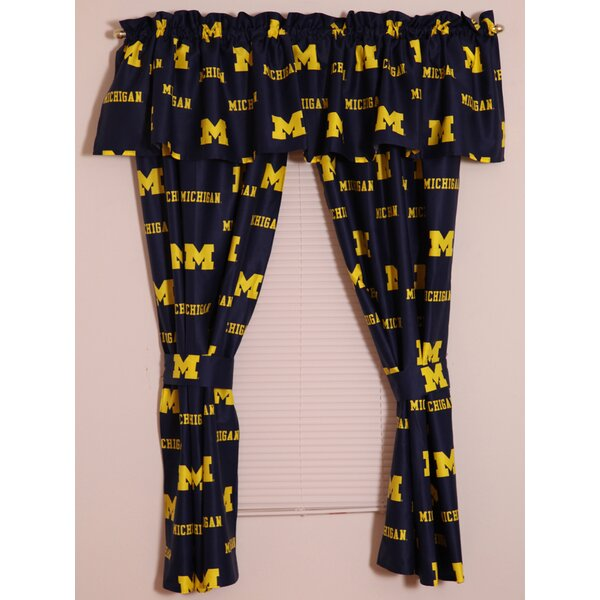 NCAA Michigan Printed Sports Rod Pocket Curtain Panels (Set of 2) by College Covers