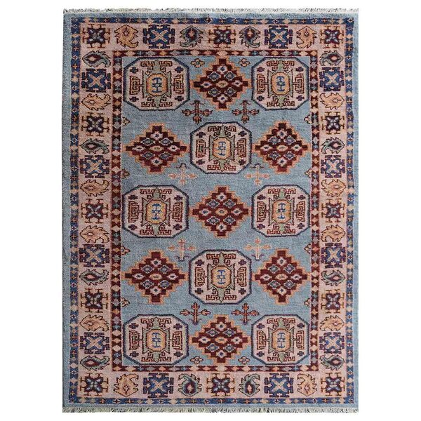 Rackers Hand-Knotted Aqua/Cream Area Rug by World Menagerie