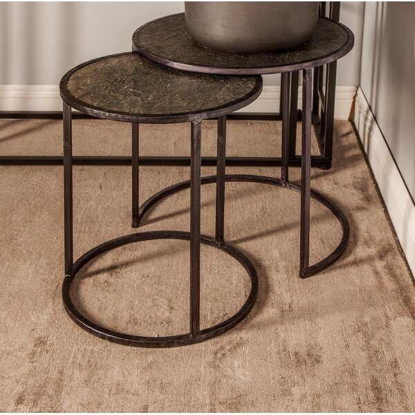 Rochell Contemporary Round Iron 2 Piece Nesting Tables Set by Ivy Bronx