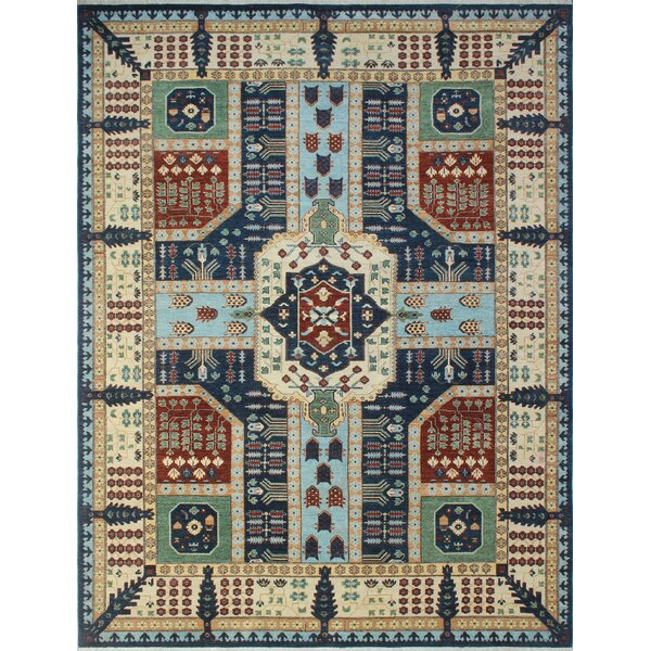 One-of-a-Kind Woodmoor Haseena Hand-Knotted Wool Blue Area Rug by Loon Peak