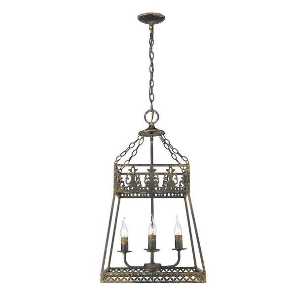 4 - Light Lantern Geometric Chandelier by Fleur De Lis Living Fleur De Lis Living
