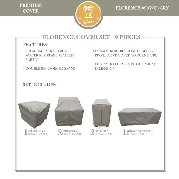 Forence 9 Piece Water Resistant Patio Furniture Cover Set by TK Classics