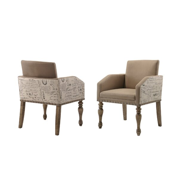 Dasher Script Set of 2 Printed Upholstered Dining Chair (Set of 2) by One Allium Way