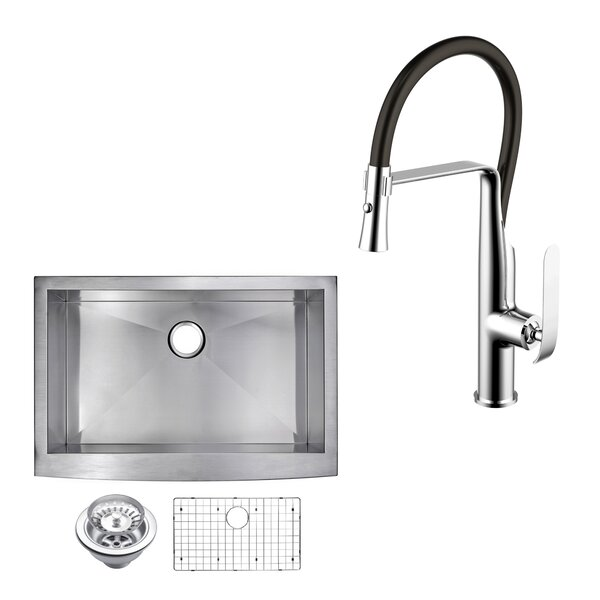 All-in-One Front Stainless Steel 33 L x 22 W Apron Kitchen Sink with Faucet and Pull-out Sprayer by dCOR design