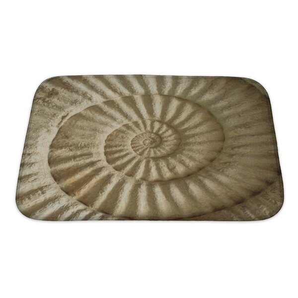 Marine Closeup of Ammonite Prehistoric Fossil on the Surface of the Stone Bath Rug by Gear New