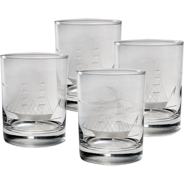 Clipper Ship Hand-Cut 14 Oz. Rocks Glass (Set of 4) by Susquehanna Glass