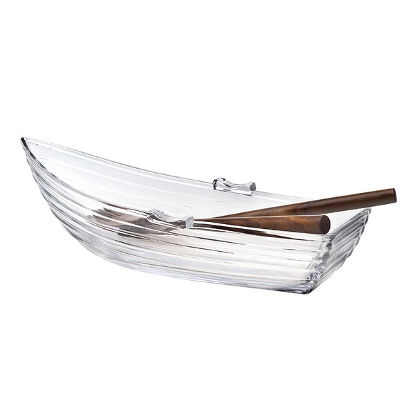 Rowboat Crystal Serving Dish with Utensils by Birch Lane™