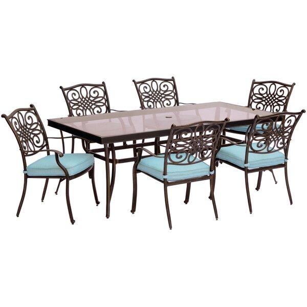 Carleton 7 Piece Aluminum Dining Set with Cushions by Fleur De Lis Living