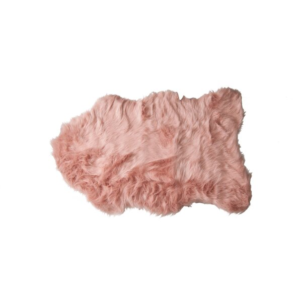 Shayne Faux Sheepskin Dusty Rose Area Rug by Union Rustic