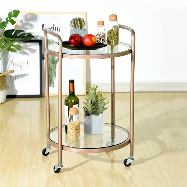 Oconee Glass Top End Table With Storage By Everly Quinn
