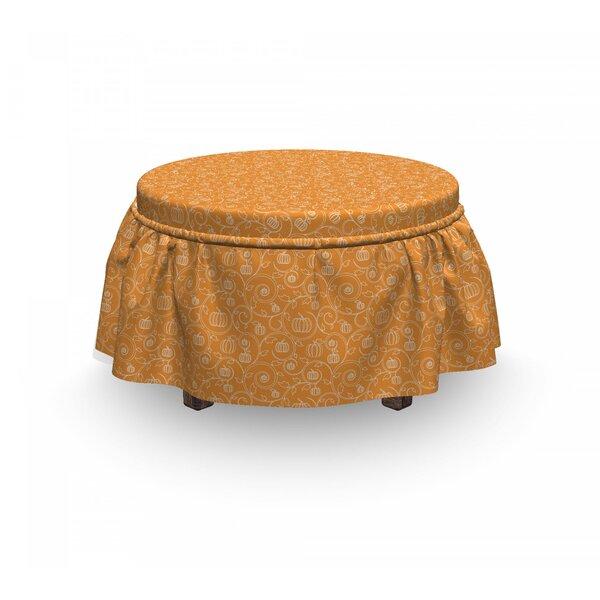 Harvest Pumpkin Leaves Swirls 2 Piece Box Cushion Ottoman Slipcover Set By East Urban Home