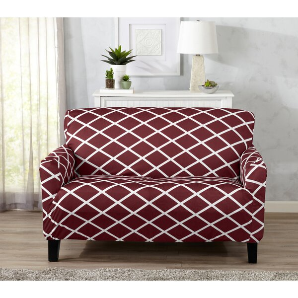 Form-Fitting Stretch Diamond Printed T-cushion Loveseat Slipcover by Winston Porter