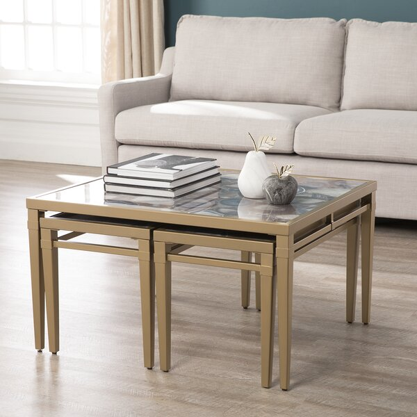 Bartel Faux Stone 3 Piece Nesting Tables by Mercer41 Mercer41