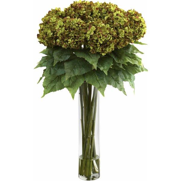 Hydrangea with Cylinder Silk Flower Arrangement by Nearly Natural