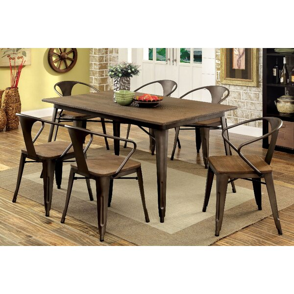 Bourk 7 Piece Solid Wood Dining Set by 17 Stories