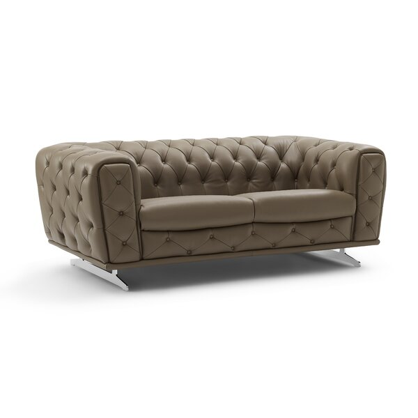 Bloomsburg Leather Loveseat by Orren Ellis