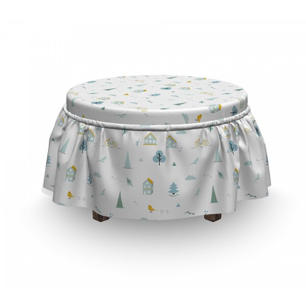Apartment Bicycle Tree Ottoman Slipcover (Set Of 2) By East Urban Home