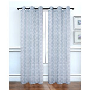 Lace Delight Geometric Semi-Sheer Grommet Curtain panels (Set of 2)