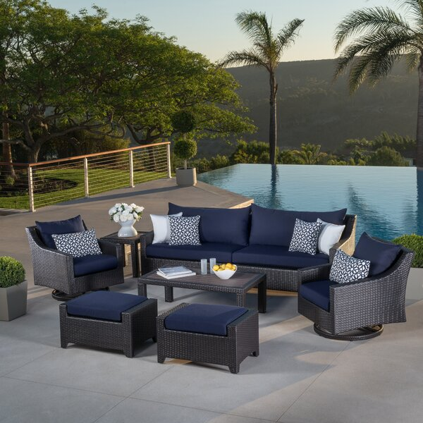 Northridge 8 Piece Rattan Sunbrella Sofa Seating Group with Cushions by Three Posts