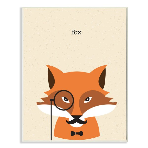 Typographic Hipster Fox with Textured Background Oversized Stretched Graphic Art Print by Stupell Industries