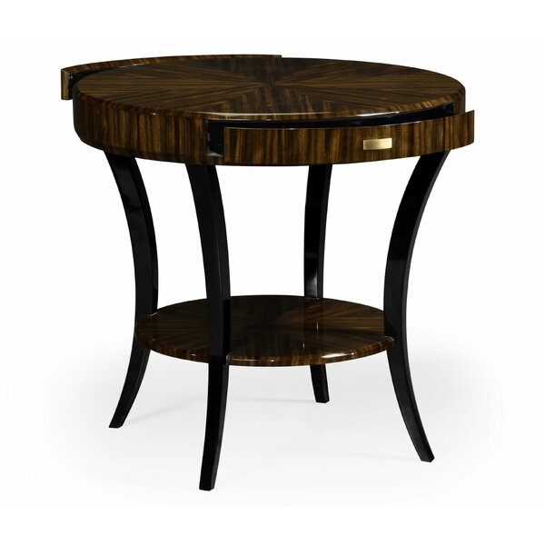 Art Deco Solid Wood End Table with Storage by Jonathan Charles Fine Furniture Jonathan Charles Fine Furniture