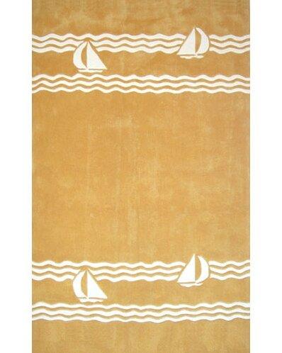 Beach Rug Yellow Sailboat Novelty Rug by American Home Rug Co.