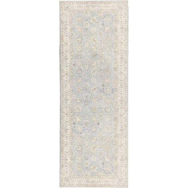 Hand-Knotted Wool Blue/Ivory Rug