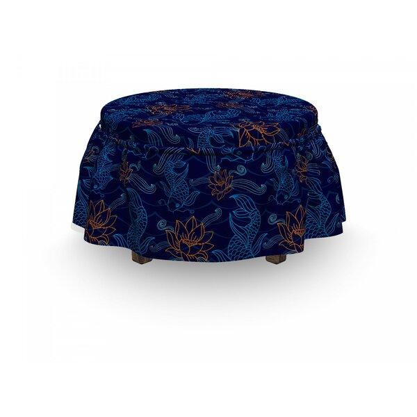 Fish Oriental SaceCarp Koi 2 Piece Box Cushion Ottoman Slipcover Set By East Urban Home