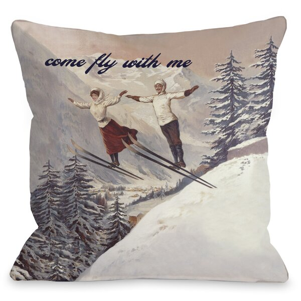 Come Fly with Me Vintage Ski Throw Pillow by One Bella Casa