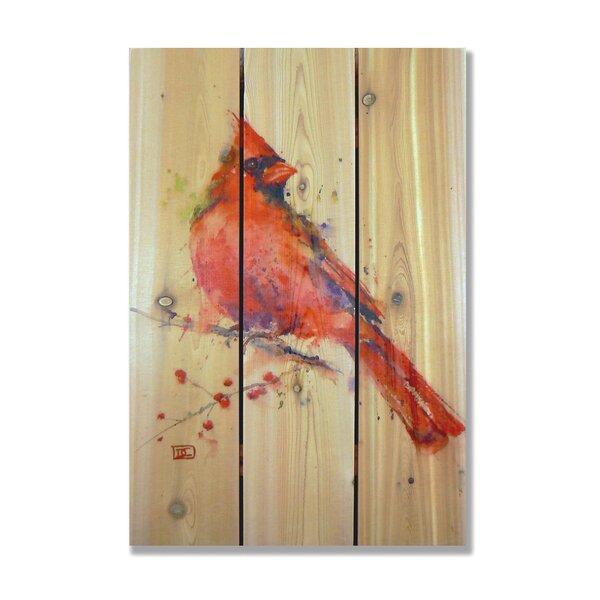 Signature 1 Cardinal Cedar Painting Print on Cedar by Gizaun Art