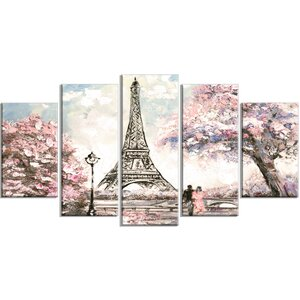 'Eiffel with Pink Flowers' Graphic Art Print Multi-Piece Image on Canvas by Design Art