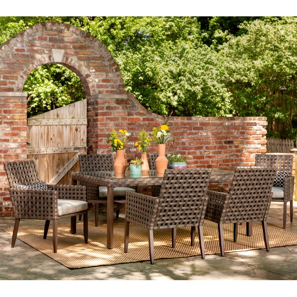 Keira 7 Piece Dining Set with Cushions by Bungalow Rose