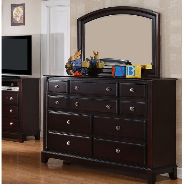 Holzman 10 Drawer Dresser with Mirror by Alcott Hill