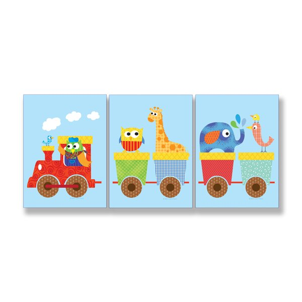 The Kids Room Animals On Whimsical Train 3 Piece Wall Plaque Set by Stupell Industries