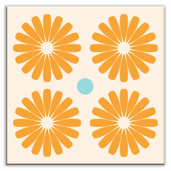 Folksy Love 4-1/4 x 4-1/4 Satin Decorative Tile in Pinwheels Orange by Oscar & Izzy