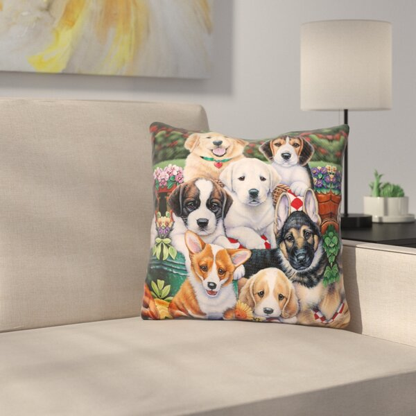 Garden Puppies Throw Pillow by East Urban Home